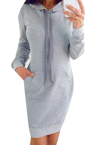 Fleece Hooded Cargo Dress Women Pocket Evening Drawstring Party Comfy Grey XqUSx511