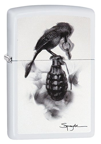 Zippo Spazuk Bird Pulling The Pin Out of a Grenade White Matte Lighter