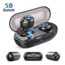 Wireless Earbuds, Latest 5.0 Bluetooth Earphones with Mic Stereo Phone Calls Deep Bass Surround Earphones Mini in Ear Headphones Sweatproof Sports Earbuds with Charging Case for Sports, Work, Travel