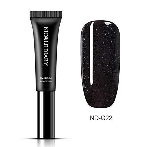 NICOLE DIARY 8ml One Step UV Gel Nail Polish Tube 3 In 1 Nail UV LED Gel Painting Varnish Colorful Soak Off Gel Nail Polish Liquid, No Base Top Coat Need(ND-G22)