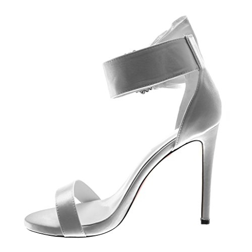 Angkorly Women's Fashion Shoes Sandals Pump Court Shoes - Stiletto - Ankle Strap - Ruffle - Jewelry - Rhinestone Stiletto High Heel 11 cm White IRk9wz