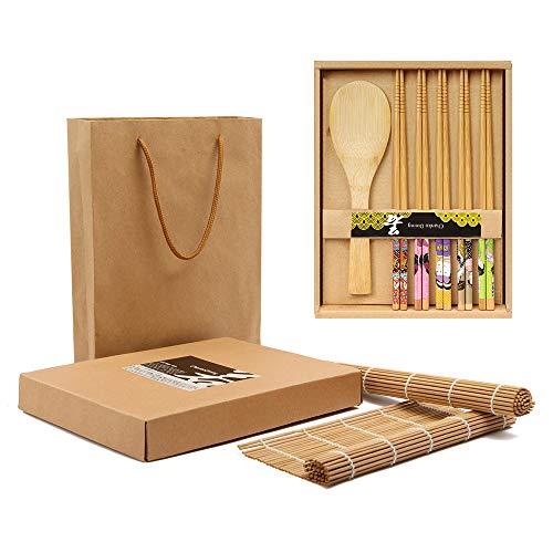 Bamboo Sushi Making Kit with Gift Box-2 Carbonized Bamboo Sushi Rolling Mats,5 Pairs Japanese Style Chopsticks,1 Rice Paddle-Complete Sushi Maker for Beginner (Japanese Style)