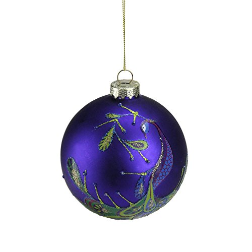 Northlight Regal Peacock Purple Glittered Glass Ball Christmas Ornament, 4