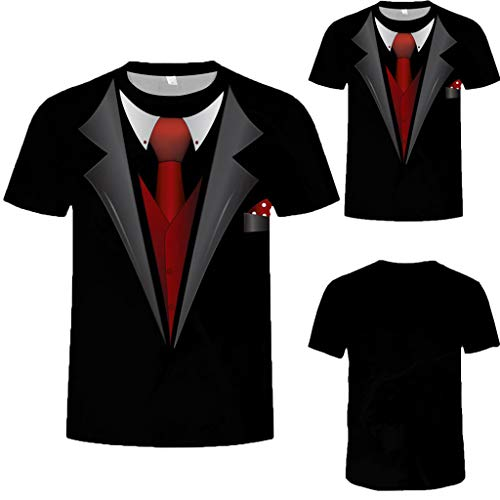 Allywit Hot Popular!Men's Funny Faux Tuxedo Suit Muscle 3D Print Short Sleeve T-Shirt Top Blouse Tee Black by Allywit-Mens (Image #1)