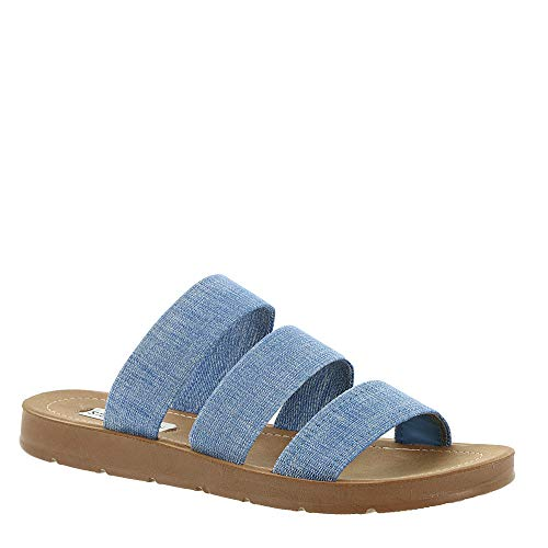 (Steve Madden Women's Pascale Flat Sandal Denim 5 M US)