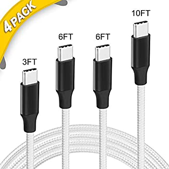 4 Pack [3FT 6FT 6FT 10FT] USB Type-C Cord Nylon Braided Cable