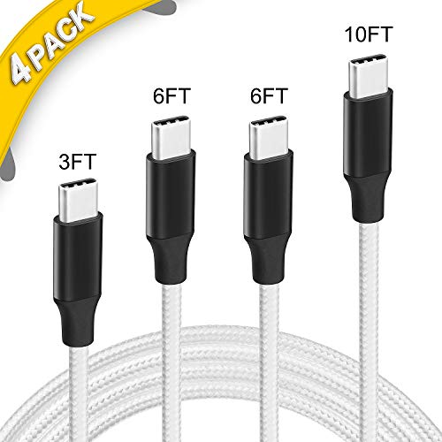 USB C Cable, 4 Pack [3FT 6FT 6FT 10FT] Type-C Cord Nylon Braided USB C Compatible Cable for Samsung Galaxy S9 S8 Note 8,Apple New MacBook, Nexus 6P 5X,Google Pixel,LG G5 G6(White)