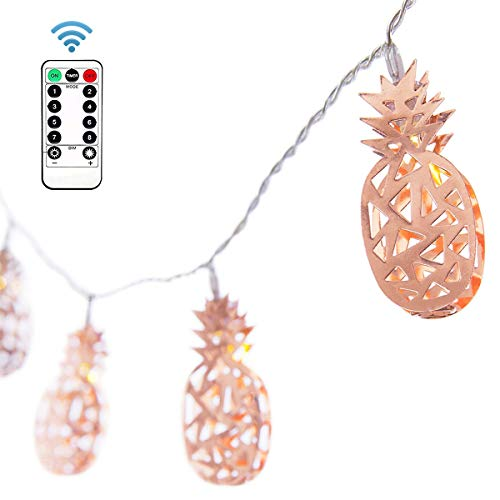 - EZICOK 10Ft 20 LED Pineapple Metal String Lights, Wireless Remote Control Waterproof Fairy Lamp, Decor for Summer Party, Bedroom, Living Room, Patio, Hawaii, Birthday Bridal Bohemian