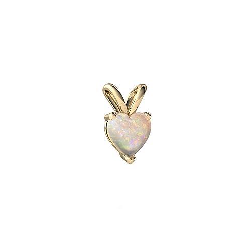 14kt Gold Opal 5mm Heart Solitaire Pendant