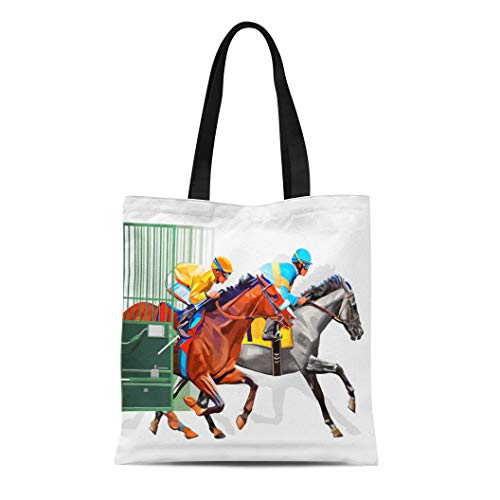 Semtomn Canvas Tote Bag Three Racing Horses Competing Each Other Motion Blur Durable Reusable Shopping Shoulder Grocery Bag ()