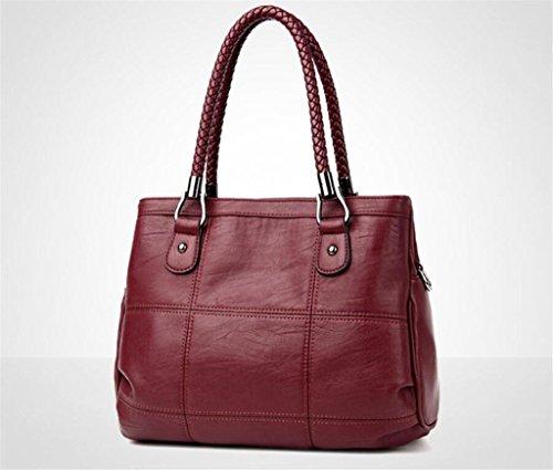 del semplice acquisto di spalla La quattro di trasversale modo black cucire Donna moda borsa wine Spalla red colori di obliqua singola lavora della NVBAO cuoio vwxO5U8qw