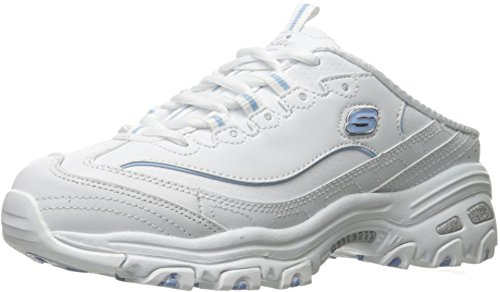 Skechers Sport Women's D'Lites Scene Setter Fashion Sneaker, White/Light Blue, 9 M US