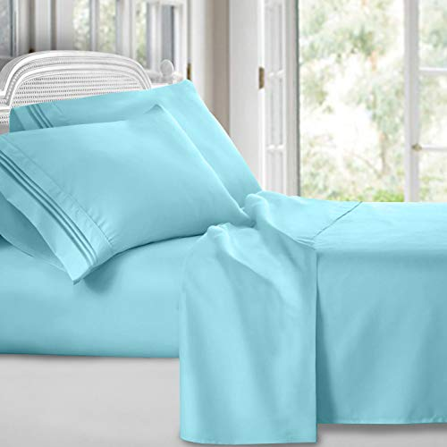Clara Clark 4 Piece Sheet Set Deep Pocket Brushed Microfiber 1800 Bedding Hypoallergenic, Wrinkle, Fade & Stain Resistant, Queen Size, Light Blue Aqua