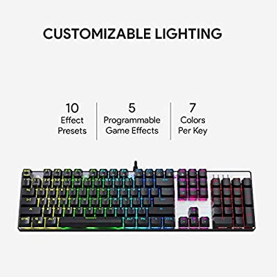 AUKEY Mechanical Keyboard Blue Switch, 104-Key RGB Backlit Gaming Keyboard with Customizable Lighting Effects, Aluminium USB Wired Keyboard for Gaming and Typing, Mac & PC Compatible