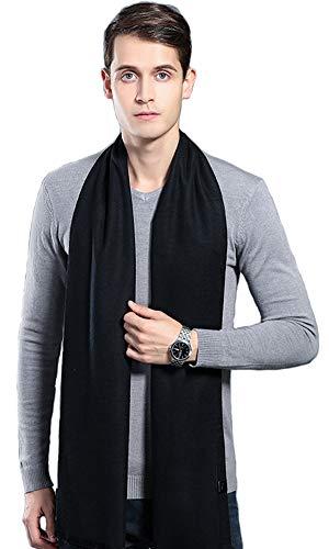 Cashmere Scarf Plaid Stripes Warm Soft Scarves with Tassel (Black) ()