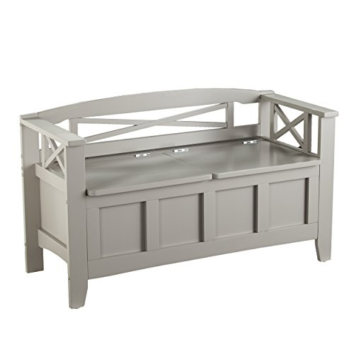 Flip Top Wood Storage Bench - Gray Finish Storage Chest - Space Saving Design ()