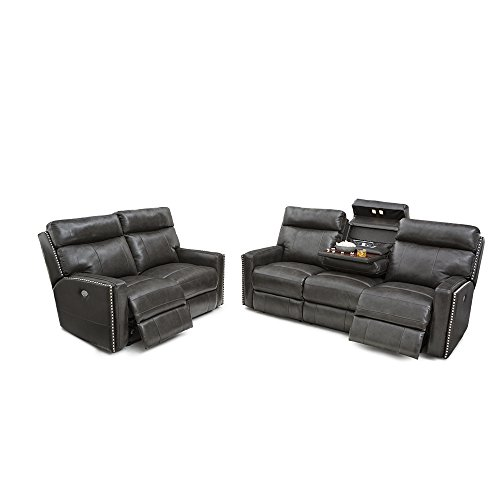 SEATCRAFT Lombardo Leather Home Theater Seating Multimedia Sofa and Loveseat Set Power Recline with Adjustable Powered Headrests, and Fold Down Table, Grey