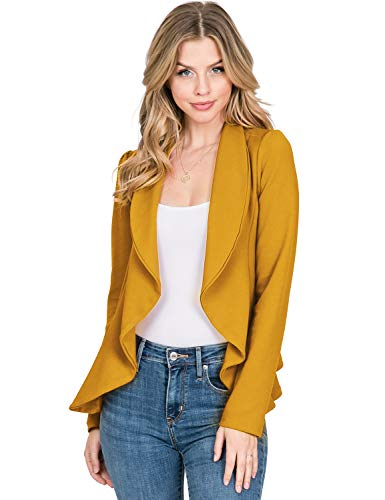 CLOVERY Women's Long Sleeve Open Front Blazer Long Sleeve Slim Fit Work Office Cardigan Jacket, Mustard X-Large Plus Size