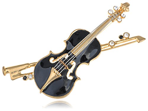 Costume Jewellery Brooches Wholesale (Alilang Elegant Violin Austrian Crystal Rhinestone Embellish Fashion Jewelry Brooch Pin)