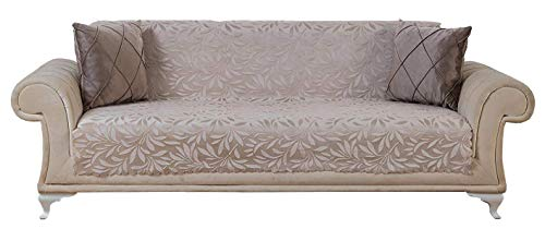 Chiara Rose Acacia Anti-Slip Armless Pet Dog Sofa Couch Cover Sectional Recliner Slipcover Non-Slip 1-Piece Furniture Protector Throw Futon Shield 2 3 Seater T L Cushion Leather Sofa Beige ()