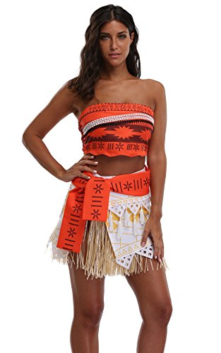 Goodsaleok Girl Women Moana Cosplay Costume Polynesia princess Dress Outfit For Halloween Party, Adult (Adult Princess Outfits)