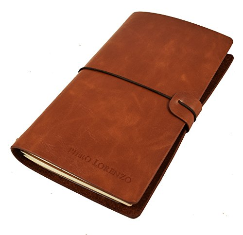 Handmade Leather Notebook Journal - Refillable, Perfect for Writing, Gifts, Fountain Pen Users, Sketching, Professional, Diary with Pen included in Gift Box for Travelers (Dark Coffee)