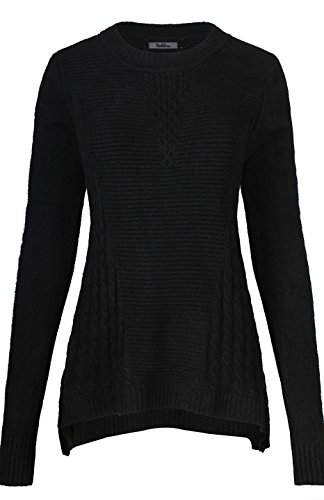 2Luv Womens Long Sleeve Sharkbite Knit Pullover Sweater With Side Slim Details Black Xl