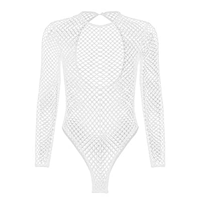 FEESHOW Women Sexy Long Sleeve Fishnet Sheer Backless Leopard Bodysuit Romper Tops