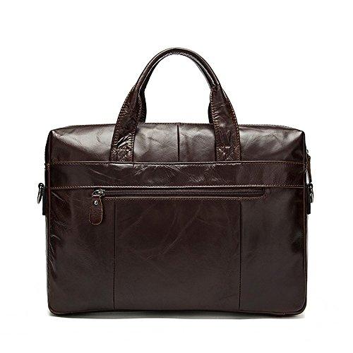 COWOCC Echtes Leder Männer Taschen Business Aktentasche Männer Laptop Tasche Mann Vintage Crossbody Schulter Handtasche Männlich Umhängetasche Portfolio, Braun Coffee