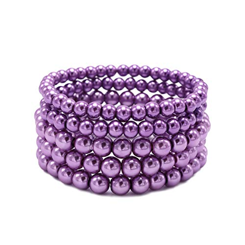 (T-Doreen 5 Row Purple Pearl Bracelet Set for Women Girl Beaded Stretch Strand Bracelet)