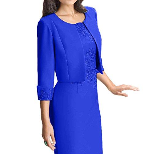 Damen Hell Blau Elegant Knielang Charmant Ballkleider Abendkleider Etuikleider Brautmutterkleider Spitze Blau Royal F4waqARdx
