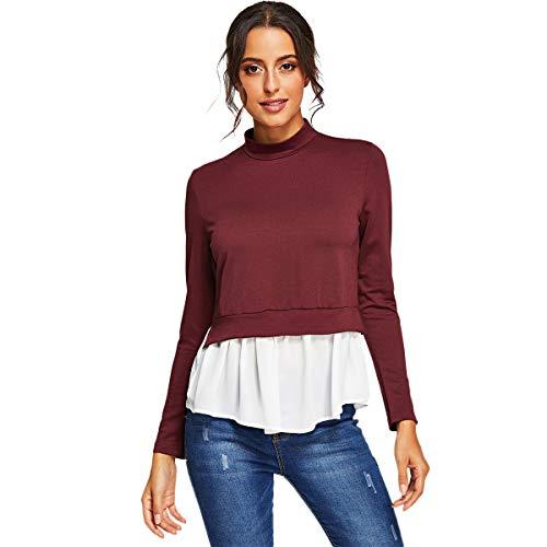 Romwe Women's Mock-Neck 2 in 1 Sweatshirt Contrast Ruffle Hem Pullover Tops Burgundy Large