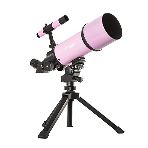 Pink TwinStar AstroMark 80mm 16-40x Power Portable Refractor