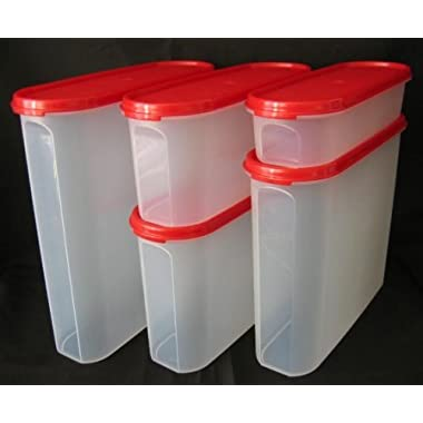 Tupperware Modular Mates 5 Pc Super Oval Pantry Set Red Seal