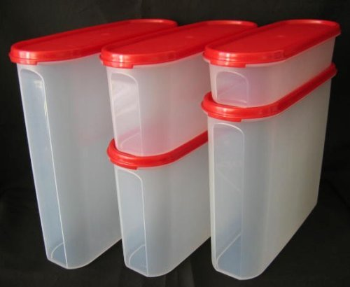 Modular Mates Set - Tupperware Modular Mates 5 Pc Super Oval Pantry Set Red Seal