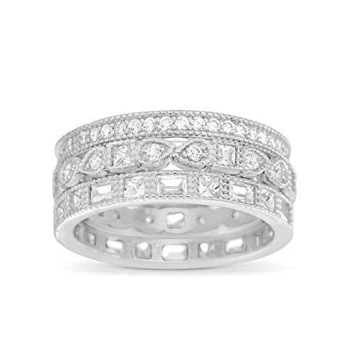 INSPIRED BY YOU. Round Bead Set Cubic Zirconia Antique Style Eternity Band 3pc Bridal Ring Set for Women in Rhodium Plated Sterling Silver (Size 11) ()