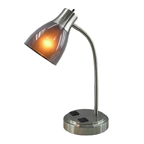 Normande lighting gp3 796 13w cfl desk lamp with two electrical normande lighting gp3 796 13w cfl desk lamp with two electrical outlets on the base aloadofball Image collections