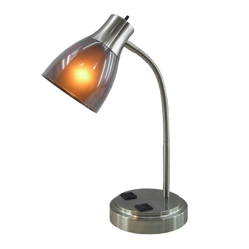 Normande Lighting GP3-796 13W CFL Desk Lamp with Two Electrical Outlets on the Base (Cfl Desk Lamp)