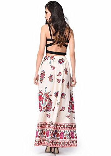Faldas largas de la falda del Hippie de Bohemia alta ocasional de las mujeres de la falda larga de las mujeres Beige