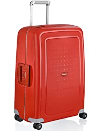 S'Cure Hardside Luggage, Crimson Red, Checked-Medium