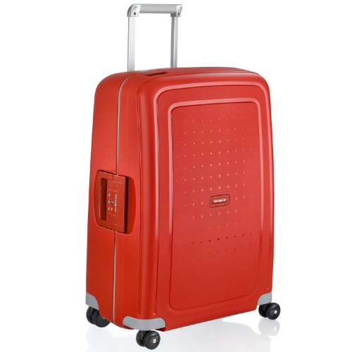 Samsonite S'Cure Hardside Checked Luggage with Spinner Wheels, 28 Inch, Crimson Red