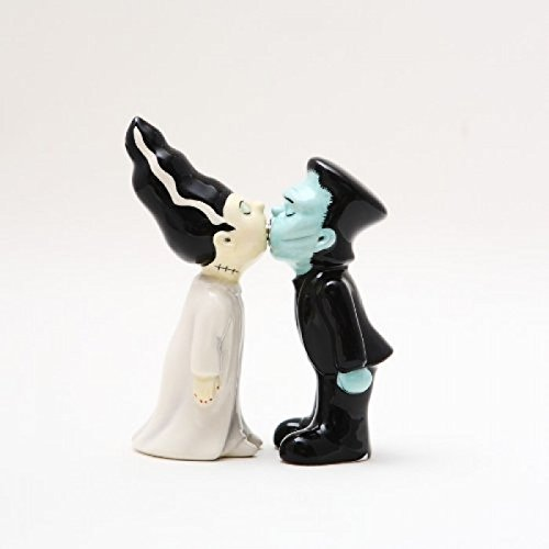 Zombies Monster and Bride Magnetic Ceramic Halloween Salt and Pepper Shakers]()