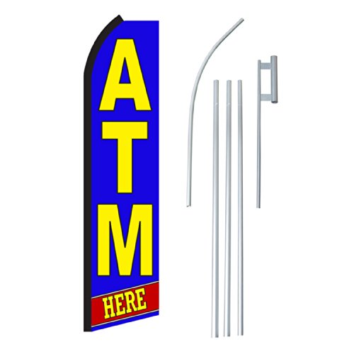"NEOPlex - ""Atm Here"" Complete Flag Kit - Includes 12' Swooper Feather Business Flag With 15-foot Anodized Aluminum Flagpole AND Ground Spike"