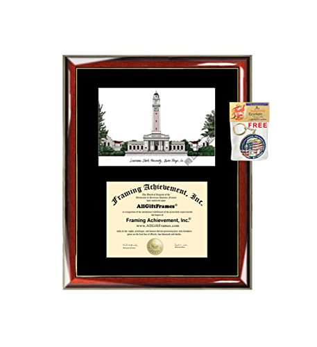 - Louisiana State University LSU Diploma Frame Lithograph - Premium Wood Glossy Prestige Mahogany with Gold Accents - Single Black Mat - University Diploma Frame