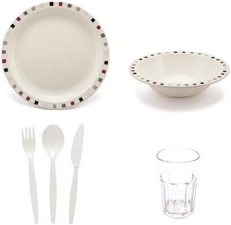 Camping vajilla - cuadrados placas burgundia, platos, vasos y cubiertos