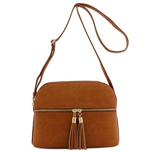- Double Zip Tassel Accent Medium Crossbody Bag Tan