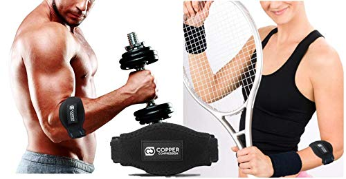 Copper Tennis Elbow Brace Forearm Strap. GUARANTEED Highest Copper Content! Patent Pending. The ONLY Copper Tennis And Golfers Elbow Brace. Gel Fit Pad Support Lateral Epicondylitis Tendonitis. Single