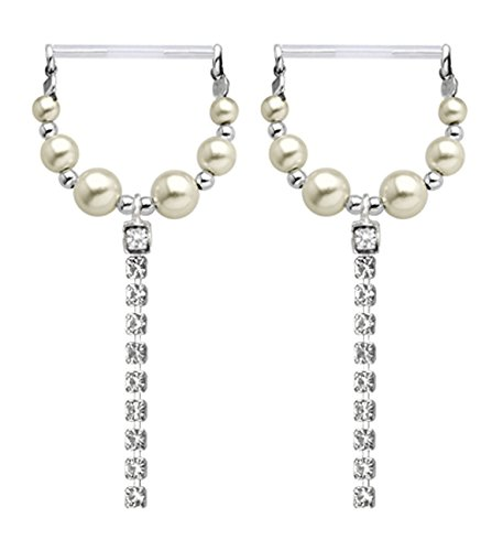 - Clear cz gem's & pearl's dangle Nipple rings Invisible Flexible Flex bioflex PTFE - CUT TO FIT - body Jewelry piercing bar barbell shield ring 14g gauge- Sold as a Pair