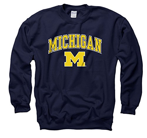 Michigan Wolverines Adult Arch & Logo Gameday Crewneck Sweatshirt - Navy