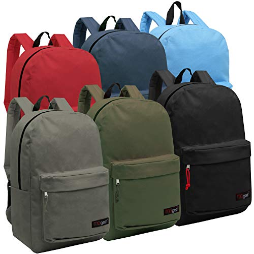 Wholesale 16.5 Inch Backpacks - Case of 24 Multicolored MGgear Bulk School Bags (Backpack Next Picnic)